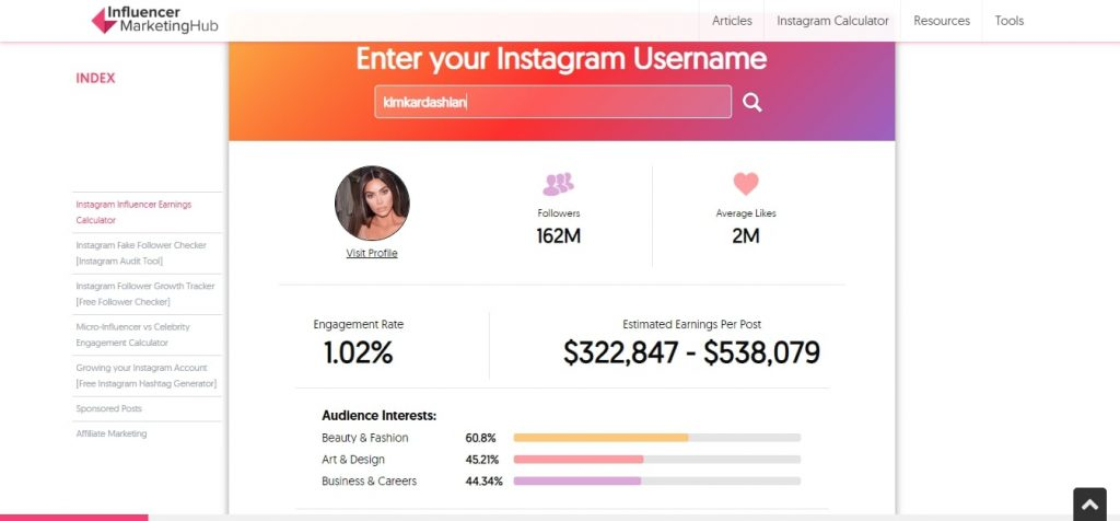 Instagram shoutout calculator