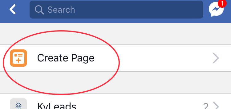create a page facebook