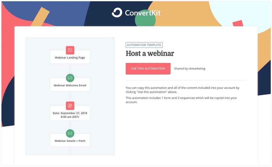 Convertkit webinar sales flow