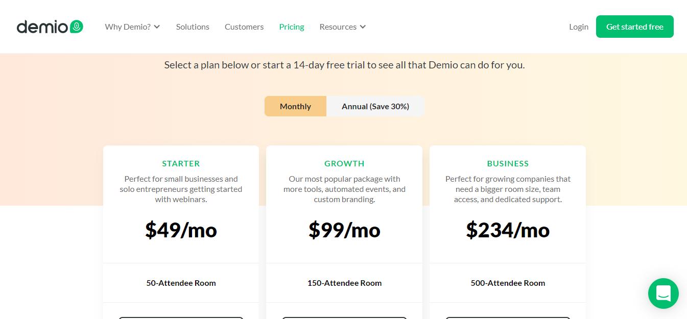 Demio pricing