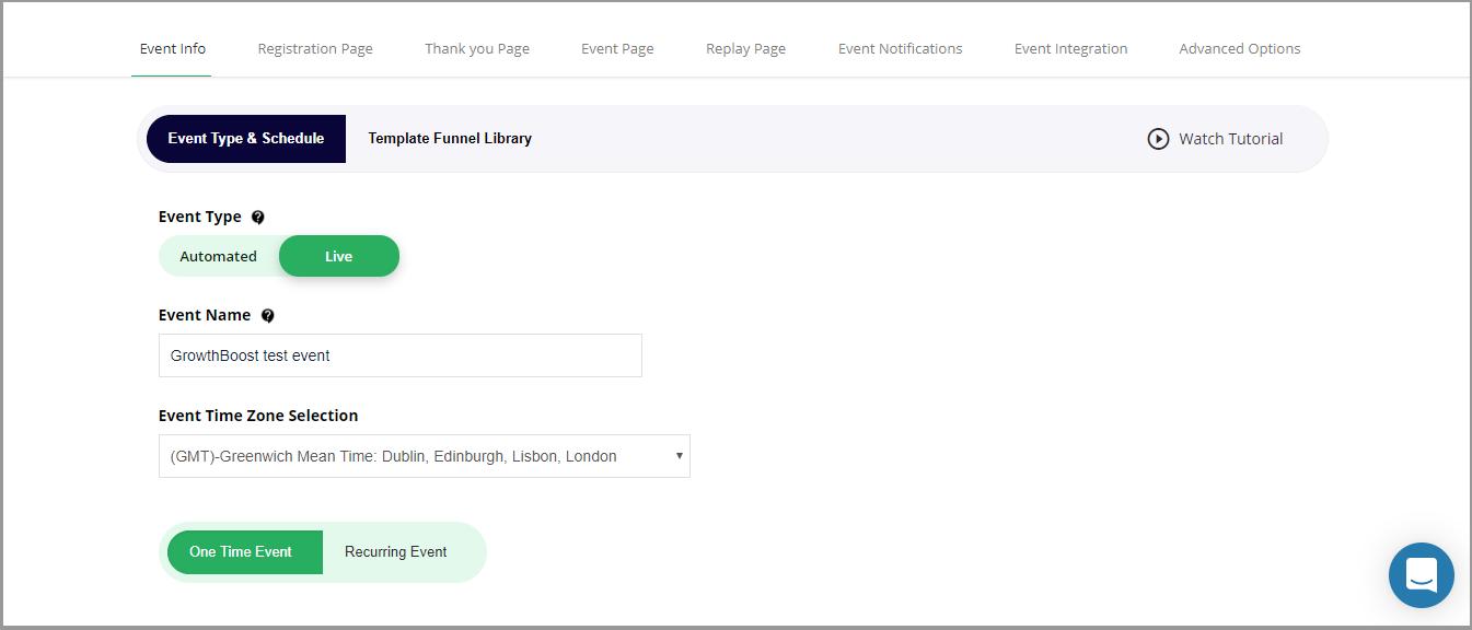 EasyWebinar live event set up