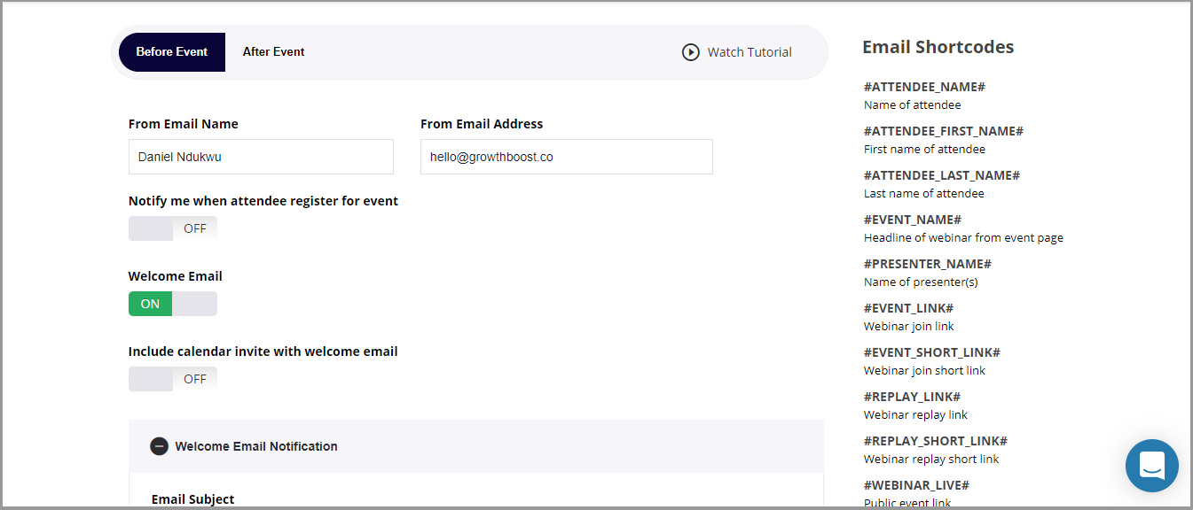 Email marketing interface