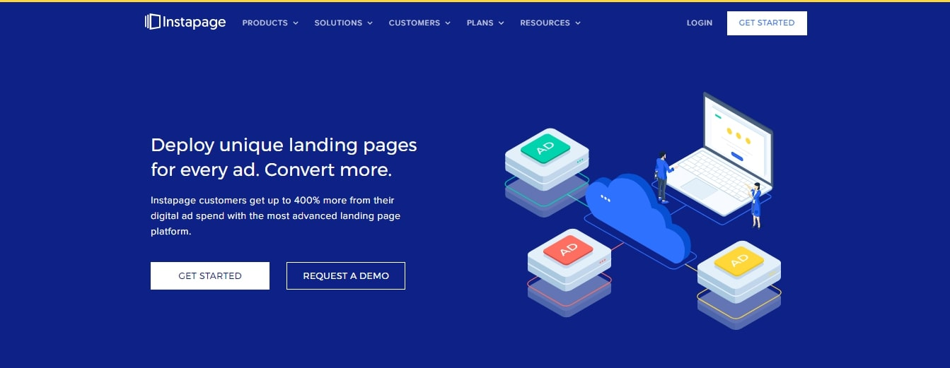 Instapage review homepage image
