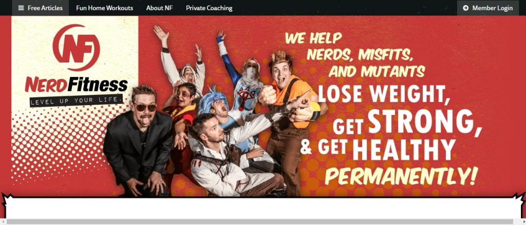 Nerd fitness example of niche affiliate site