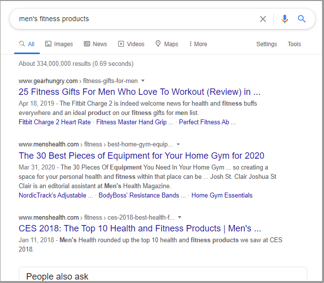 Searching for product demand