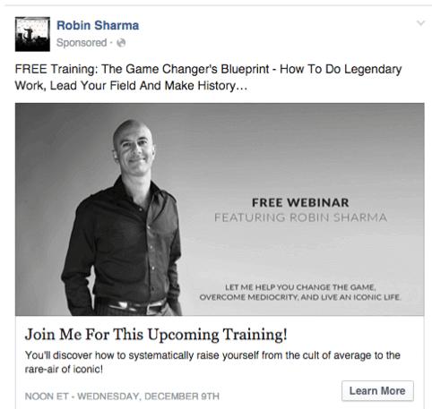 Robin sharma webinar ad that presents a big idea for viewers