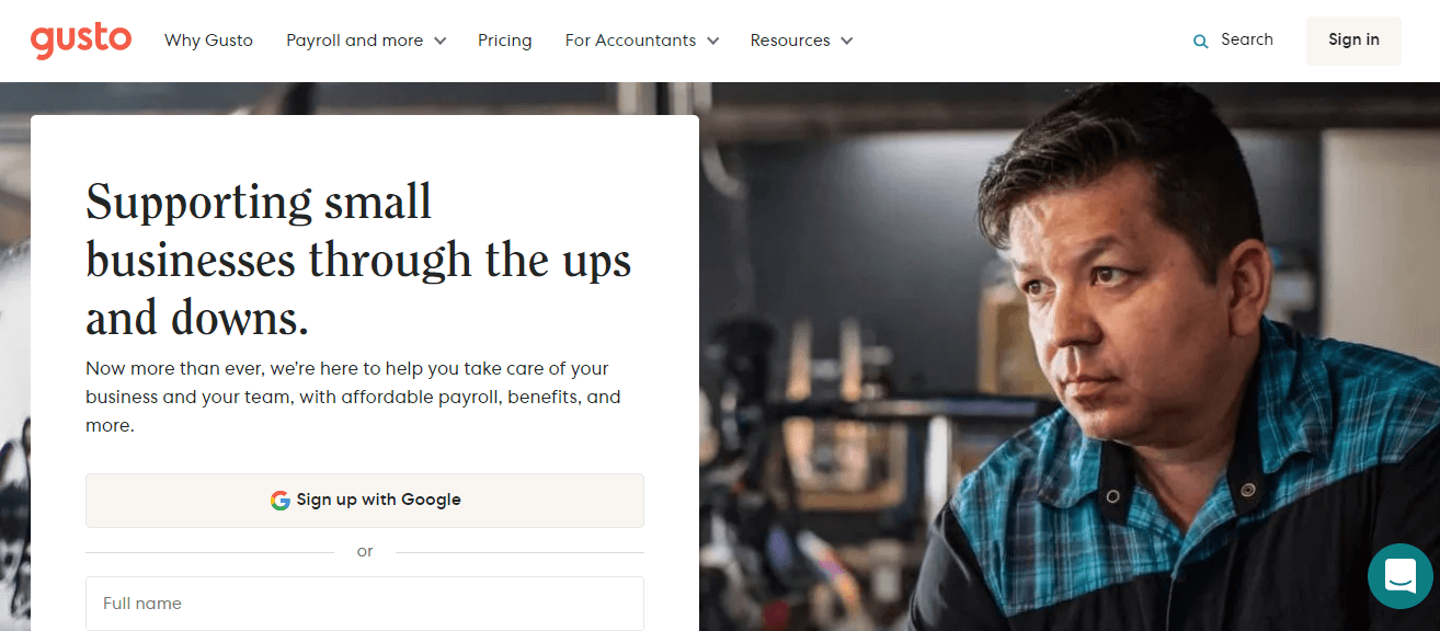 Gusto homepage