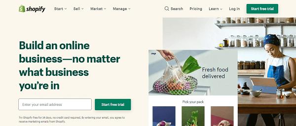Shopify homepage image