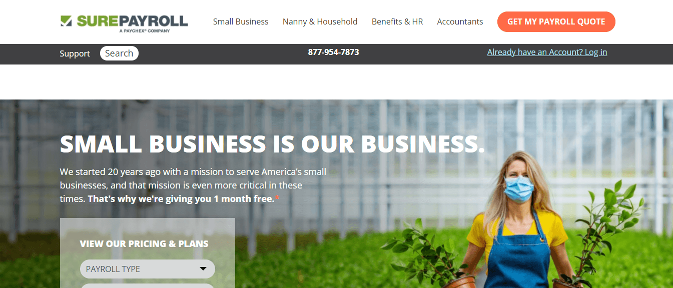 Surepayroll homepage for payroll services