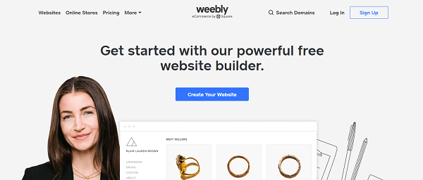Weebly website builder homepage image