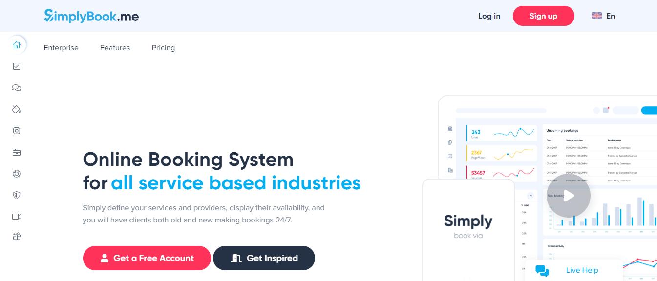 SimplyBook homepage - calendly alternatives