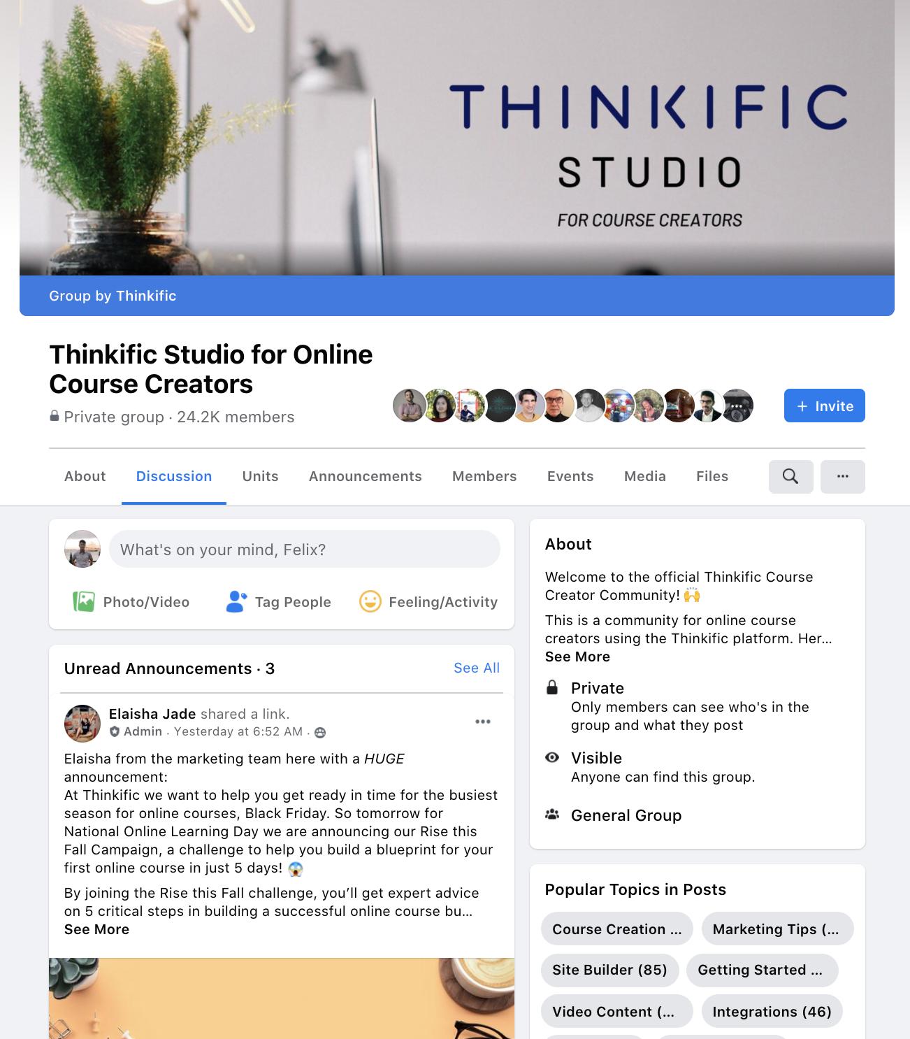 thinkific facebook