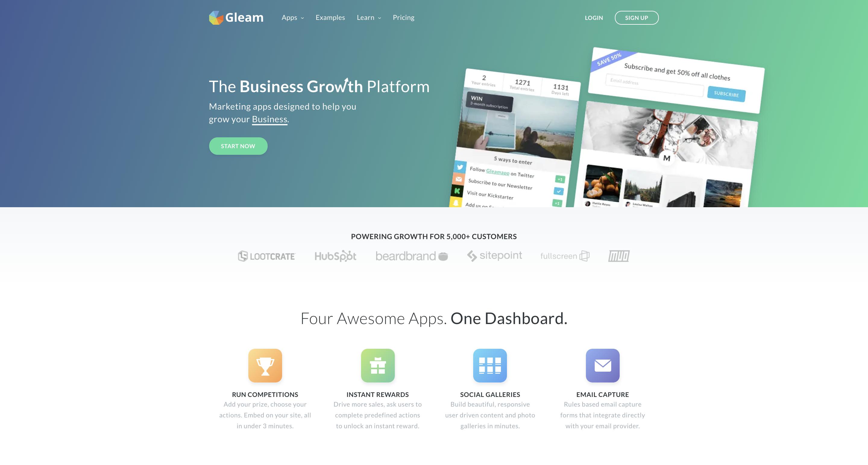gleam home page