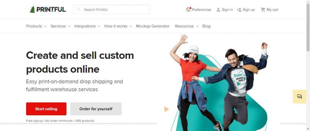 Printful online t-shirt store