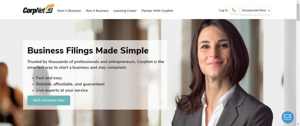 Corp Net homepage
