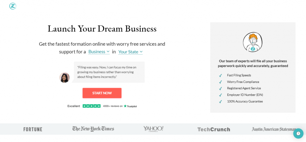 Zenbusiness homepage